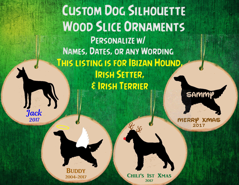 Custom Personalized Dog Wood Slice Ornament / Angel / Reindeer ...