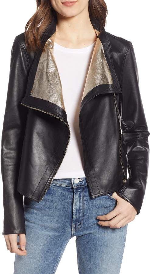 9969ea89f7f47c Women's Lamarque Metallic Lambskin Leather Jacket, Size X-Small ...