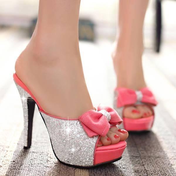Pink Heels With Bow On Back  Tsaa Heel