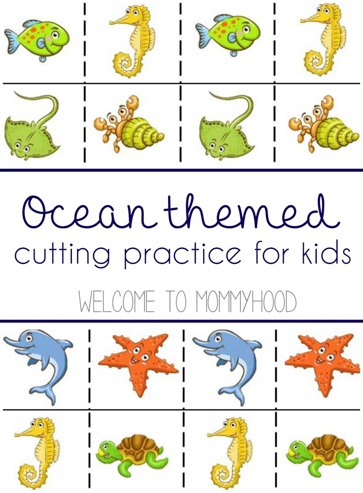 FREE Ocean animal cutting practice printable from Welcome to Mommyhood,  #summeractivitiesforkids, #freemontessoriprintables