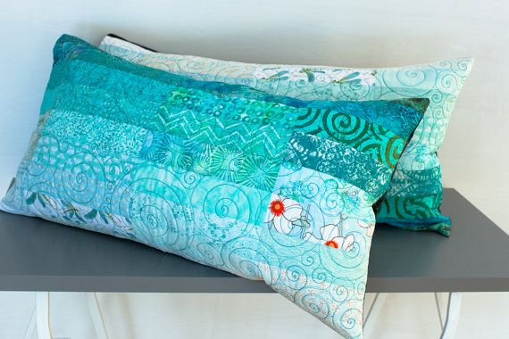 Quilted Pillow Shams King Size The Ocean Ready To Ship Etsy Quilted Pillow Shams Quilted Pillow Turquoise Pillows King size quilted pillow shams