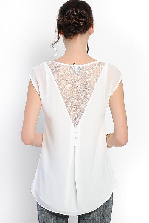Blusa blanca blanca Blusa atrás encaje con zrraFwx