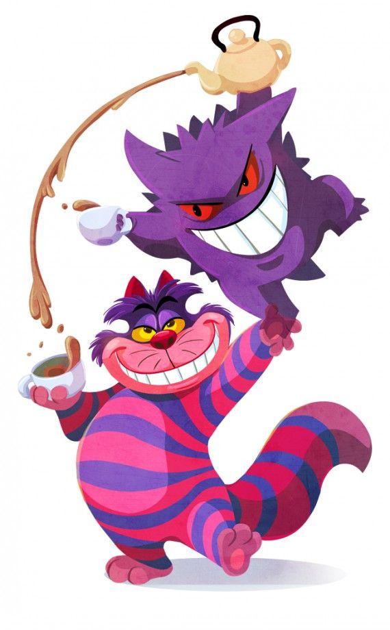quand les personnages de disney posent avec des pokmon le chat de cheshire et ectoplasma