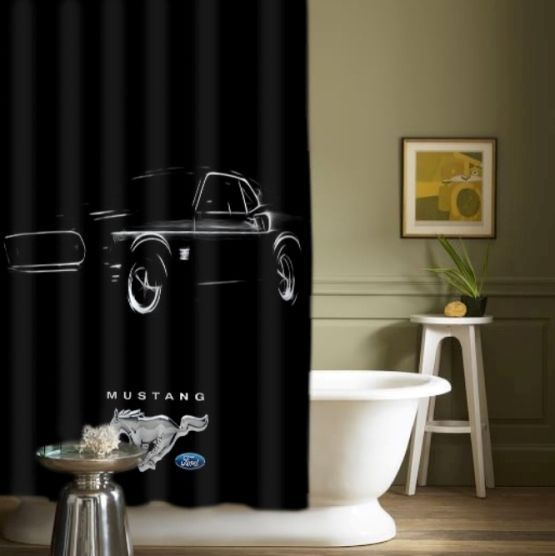 New Best Arrival Ford Mustang Logo Design High Quality Shower Curtains 60 X 72