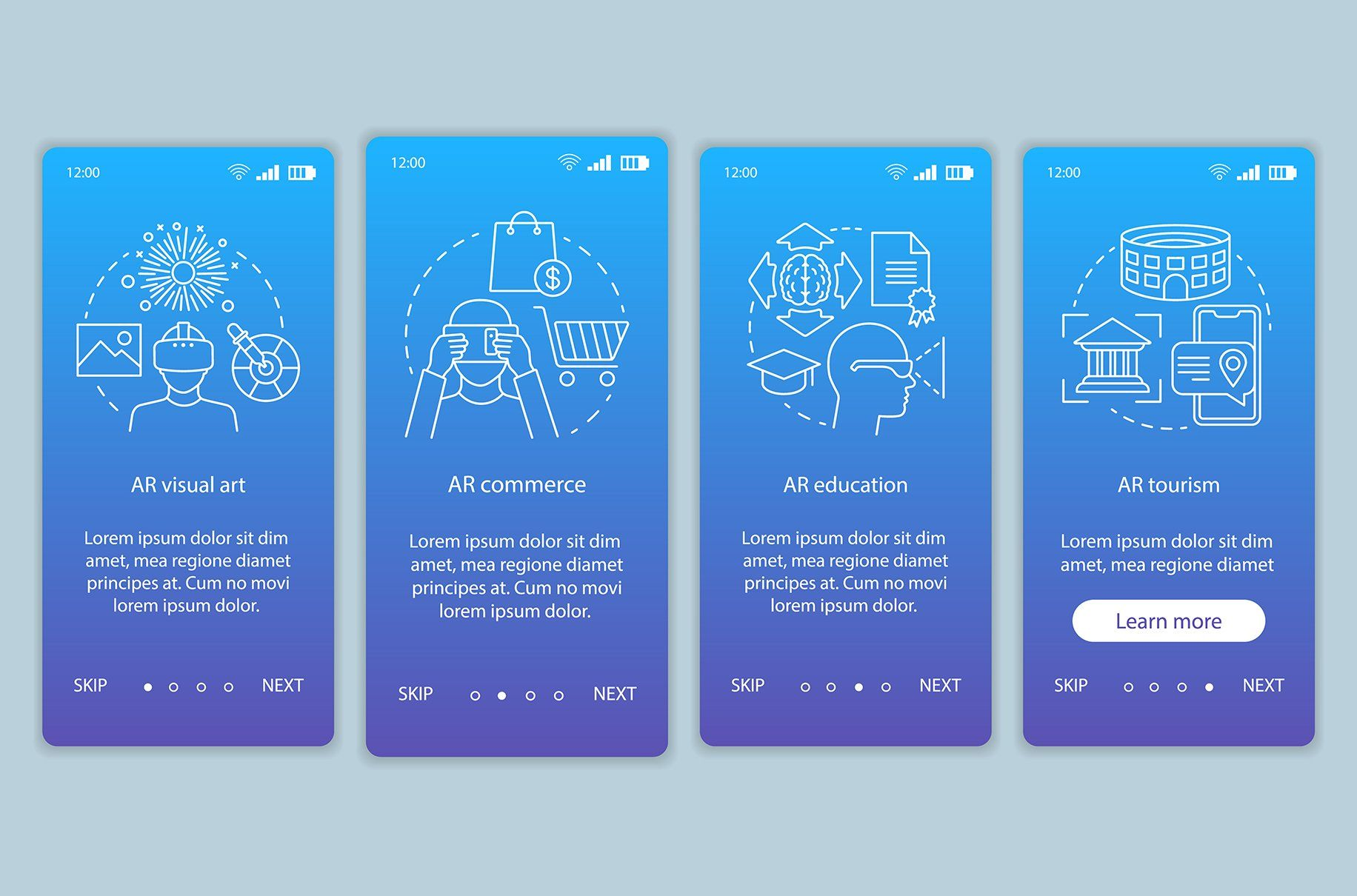 Augmented reality industry app pages in 2020 Mobile app