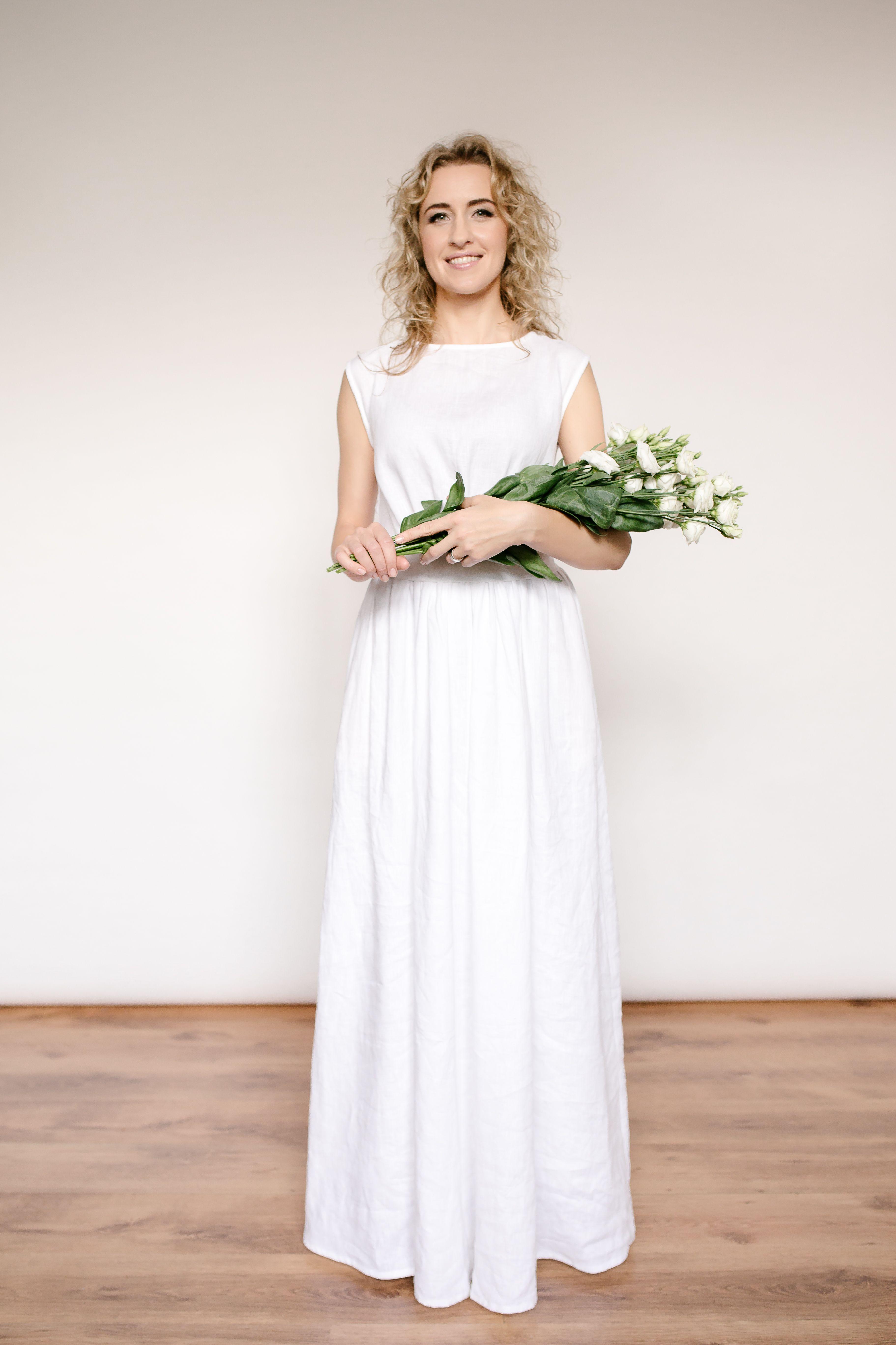 Linen greek style wedding dress | Wedding dress and Wedding