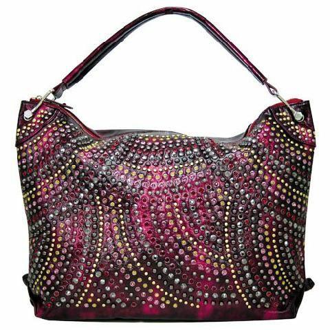 Blue Elegance Crystal And Studded Hobo Handbag