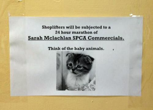 Shoplifters will be subjected to a 24 hour marathon of Sarah Mclachlan SPCA commercials.