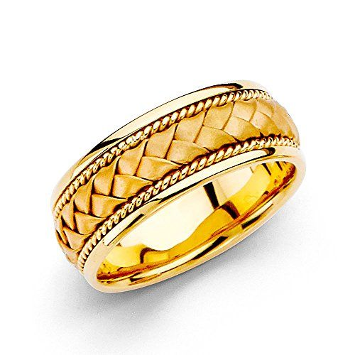 Wellingsale 14k Yellow Gold Polished Satin 8MM Handmade Braided Rope Comfort Fit Wedding Band Ring  size 125 -- Learn more by visiting the image link.
