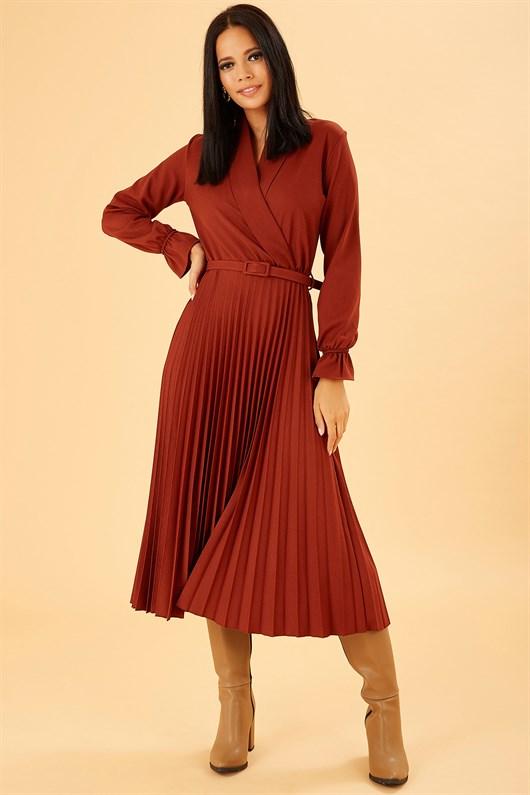 Kruvaze Kesim Midi Boy Kiremit Rengi Elbise Elbise Modelleri Mankenler Ve The Dress