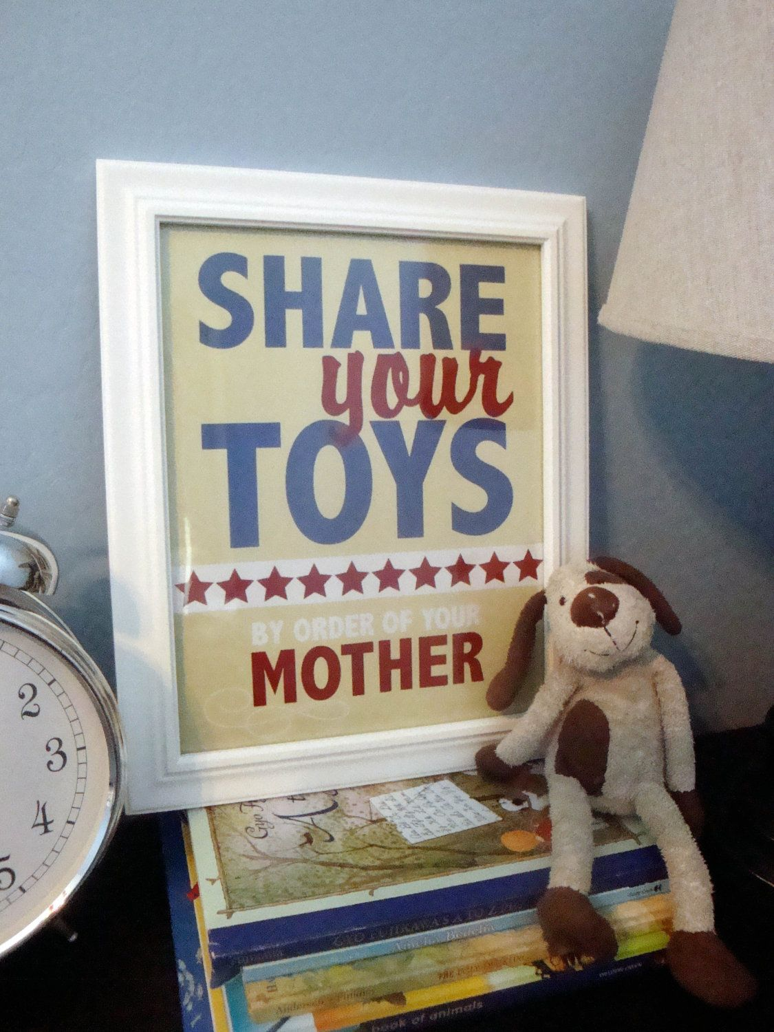 Children's Artwork - Share Your Toys in blue, yellow & red. $20.00, via Etsy.