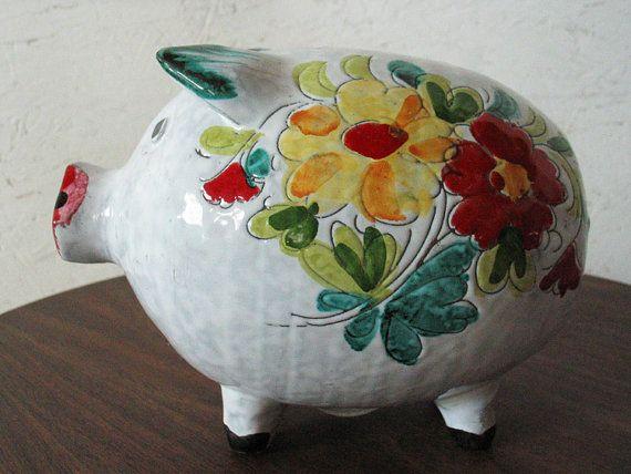 piggy bank italian ceramic  Vintage Piggy Bank Italian Hand