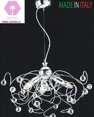Lampadario sospensione mina cristalli moderna 3 luci - Lampadario camera da letto moderna ...