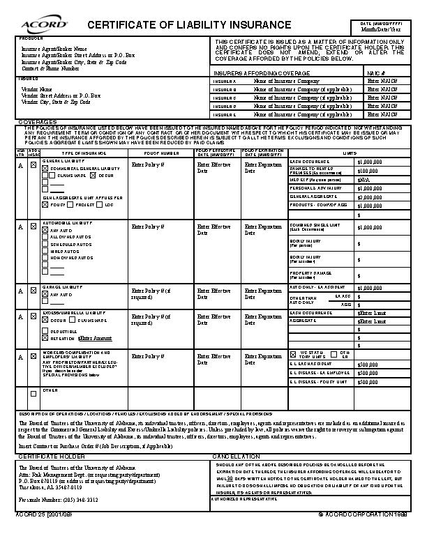 Certificate Of Liability Insurance Template (1 (Dengan gambar)