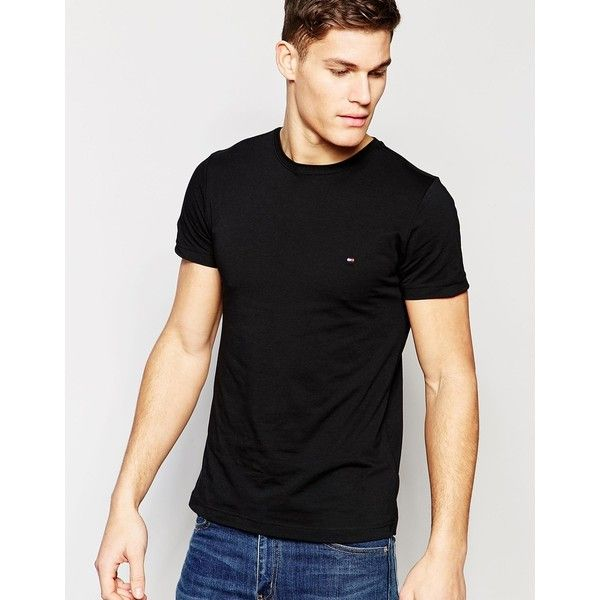 Tommy Hilfiger T-Shirt With Flag Logo In Stretch Slim Fit In Black ($45) ❤ liked on Polyvore featuring men's fashion, men's clothing, men's shirts, men's t-shirts, black, mens tall shirts, j crew mens shirts, mens slim shirts, mens stretch t shirts and mens tall t shirts