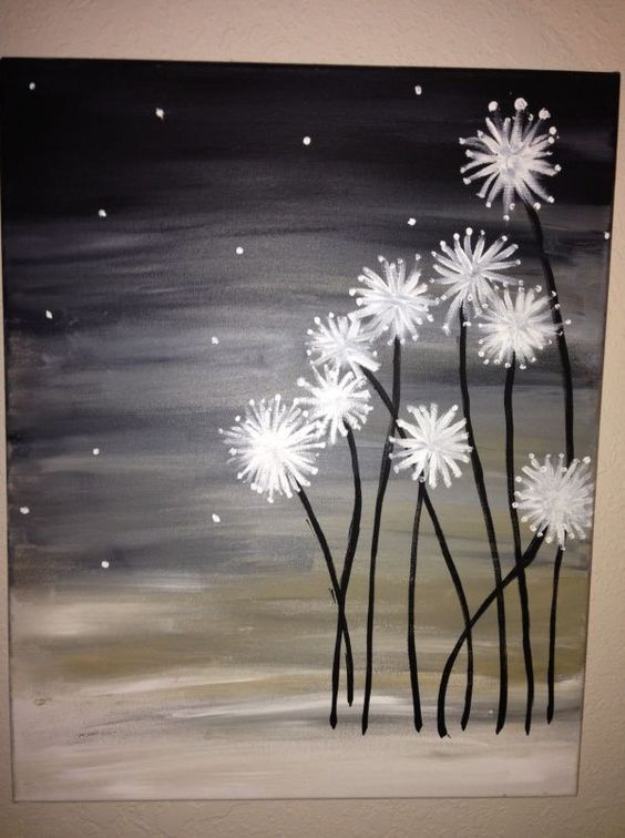 Easy Canvas Painting Ideas To Take On Best DIY Projects - Black canvas painting ideas