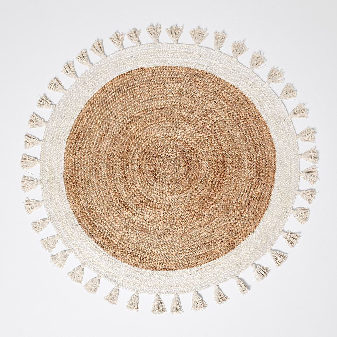 round rug with tassels in 2020  round rugs rugs cool rugs