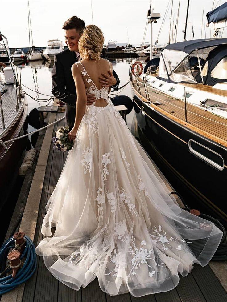 Wedding Dress V Neck A Line >> Romantic Tulle Appliqued A-line Wedding Dresses With Chapel Tr...