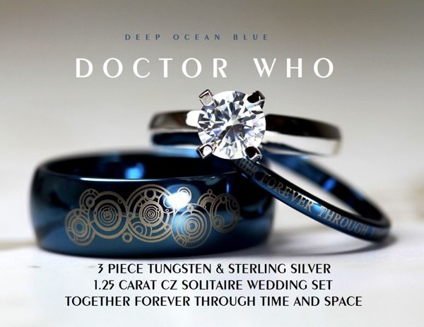 This Beautiful Doctor Who Wedding Ring Set Is A Bargain Doctor Who Wedding Doctor Who Ring Cz Wedding Ring Sets