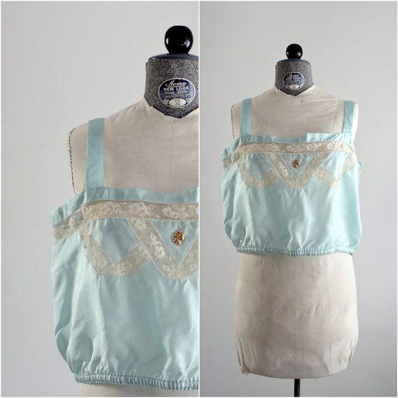 1930s Bra • Lace Bralette • 30s Bralette • 1930s Lingerie • 30s Satin Lingerie • XL 30s Lingerie • Plus Size Lingerie • XL 30s Camisole • 42