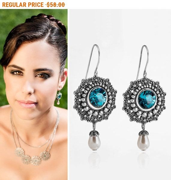 CYBER MONDAY SALE Blue wedding jewelry Blue wedding earrings Blue