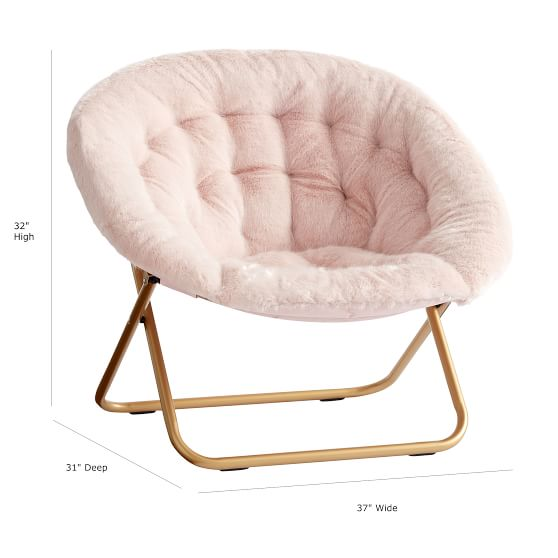 Iced FauxFur Blush with Gold Base HangARound Chair in