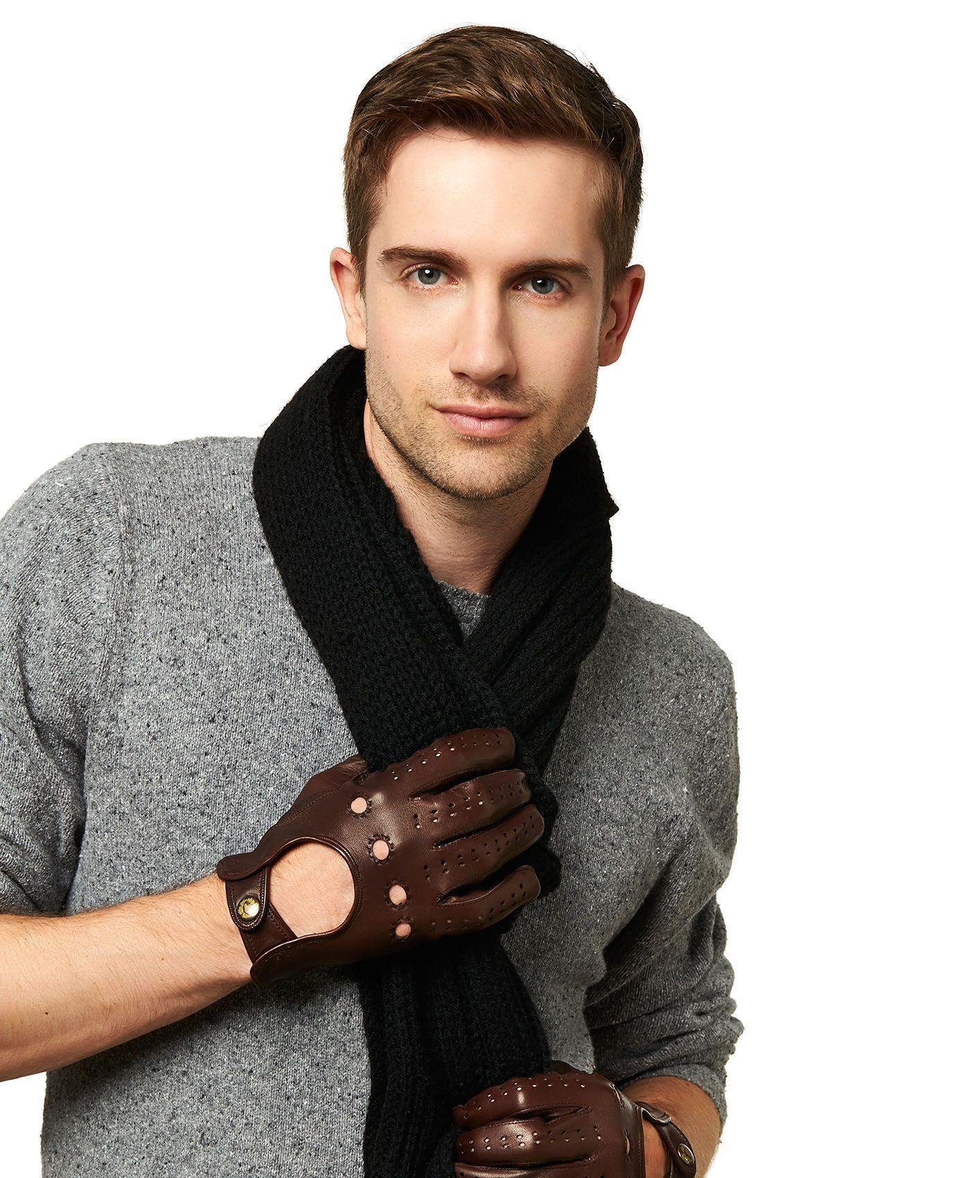 Leather driving gloves - Men S Cadet Length Lambskin Leather Driving Gloves By Fratelli
