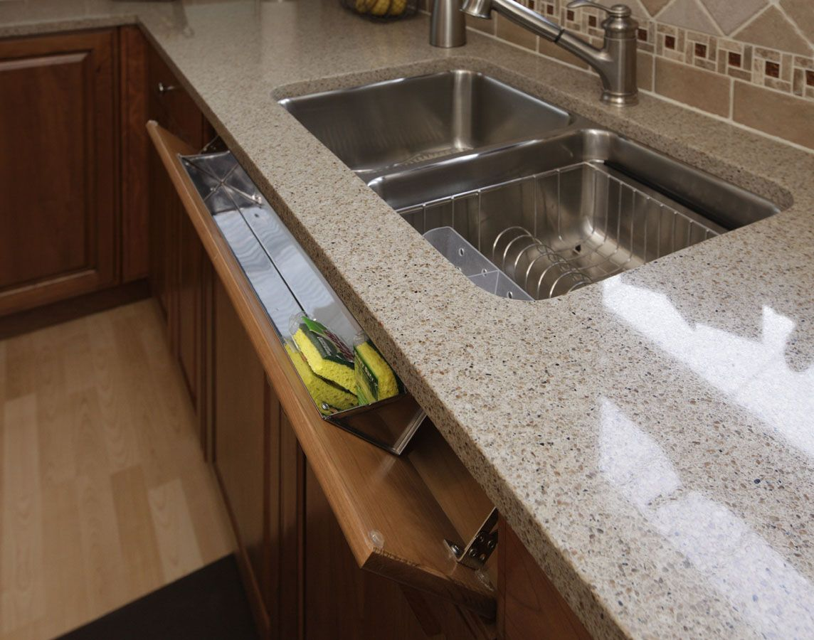 Brookhaven cabinetry concealed sponge drawer in a small kitchen