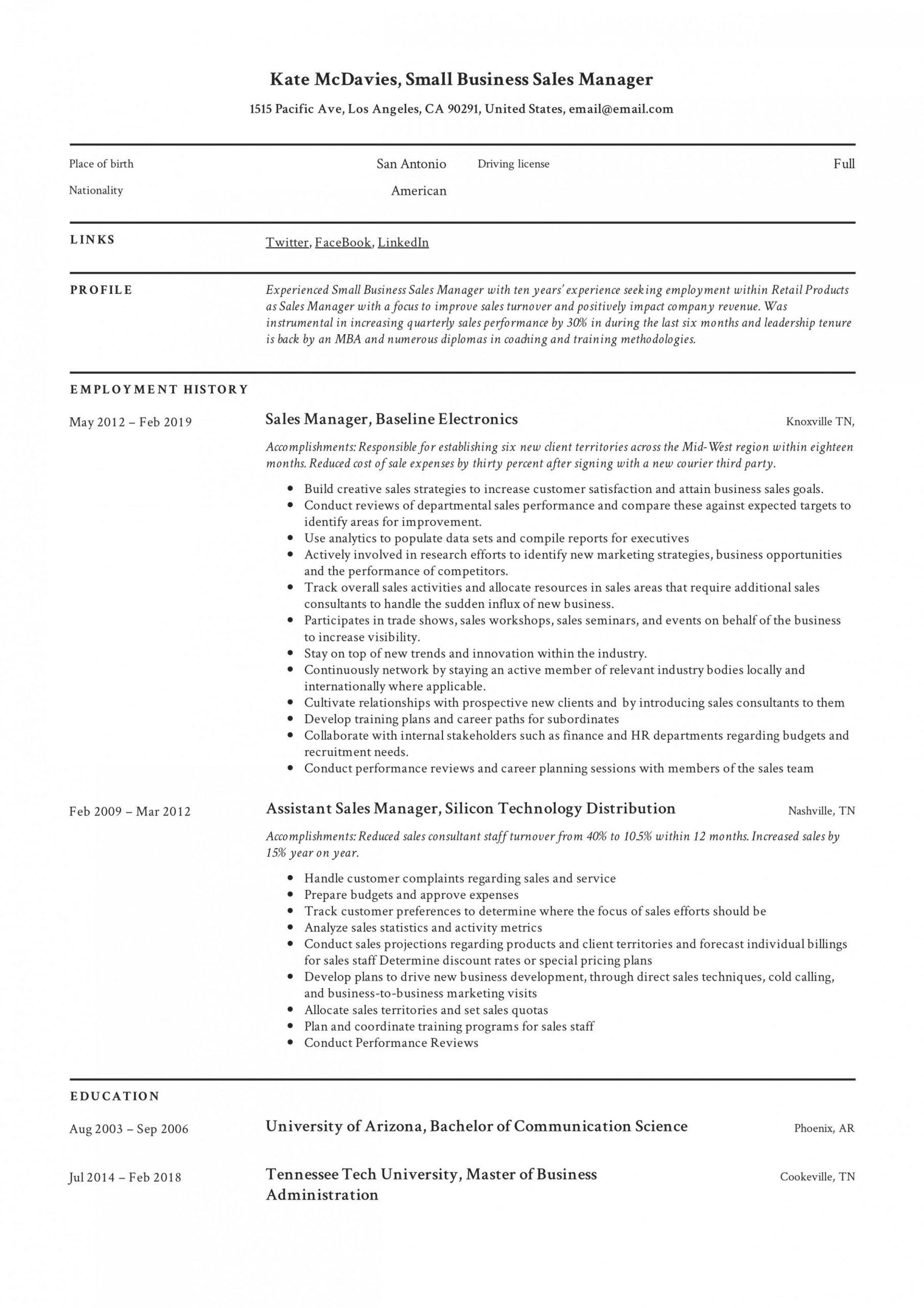regional sales manager resume skills
