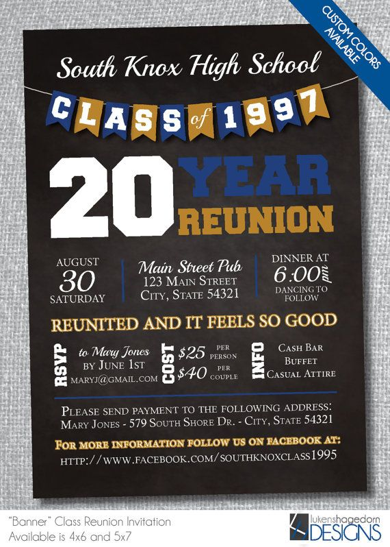 Chalkboard Class Reunion Invitation With By Lukenedorndesign