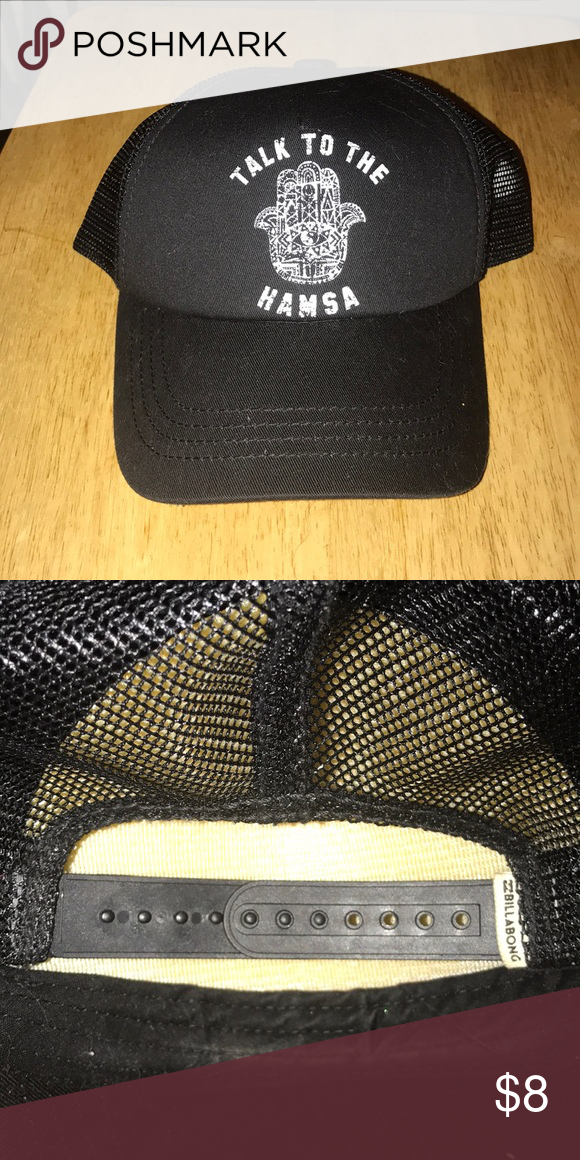 50265706667 Used Billabong Trucker Hat. Black trucker hat with adjustable straps. Worn  4 times. No rips