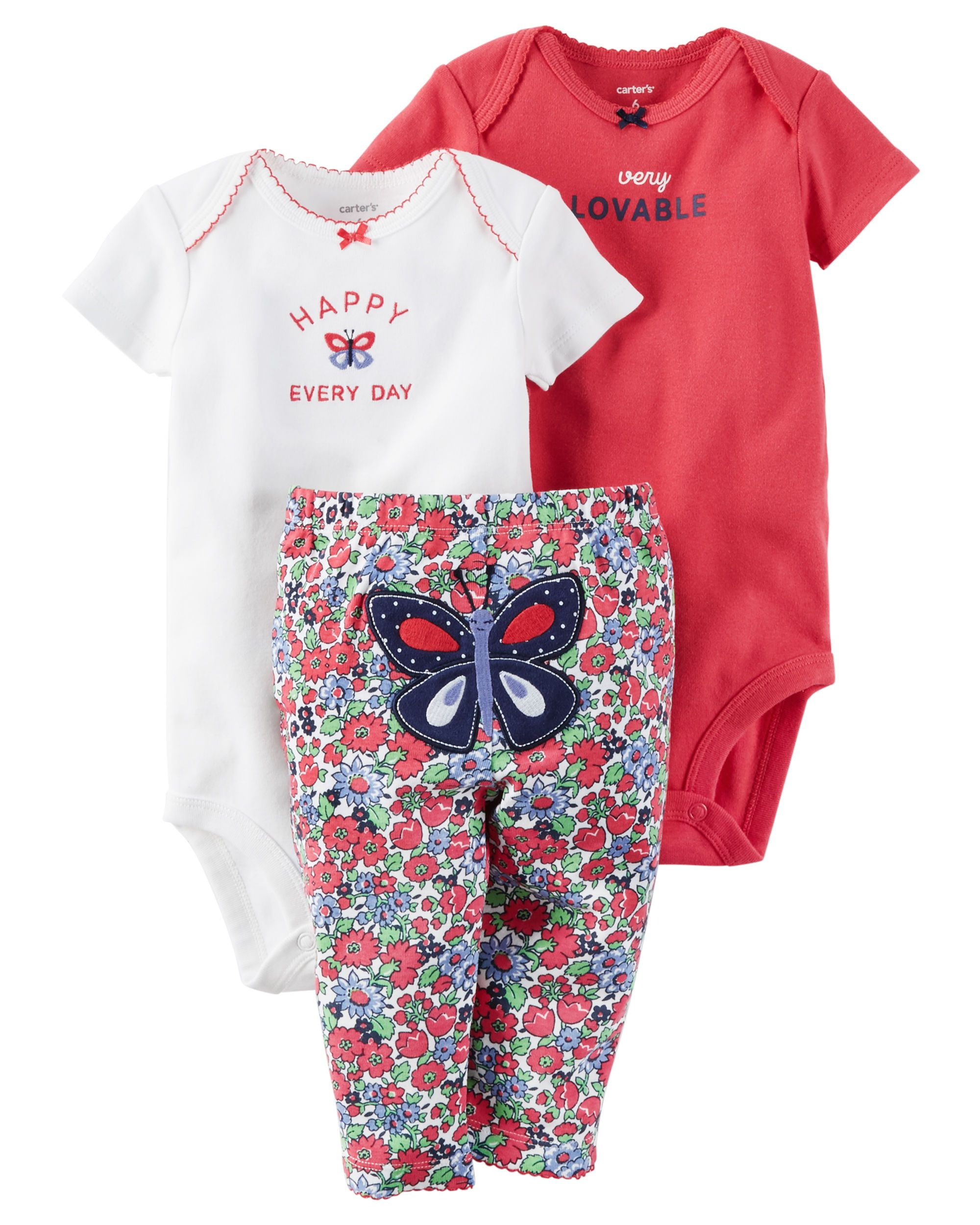 6acff4576 Baby Girl 3-Piece Little Character Set Featuring a cute little butterfly on  the bottom and two coordinating bodysuits, this babysoft cotton set lets  her mix ...