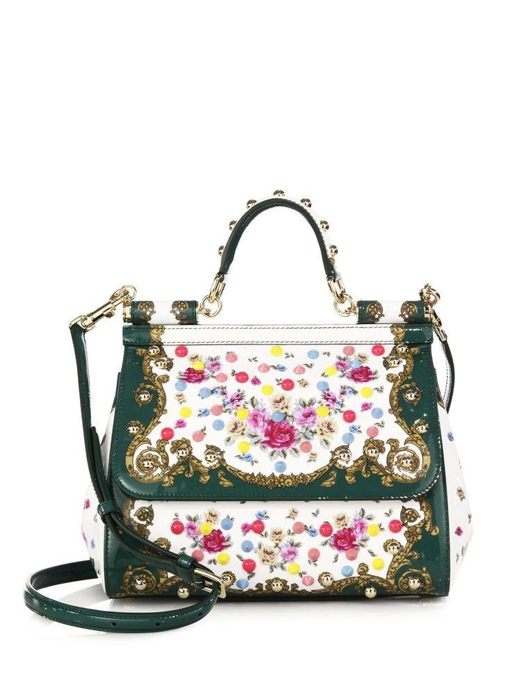 Dolce And Gabbana Floral Studded Miss Sicily Medium Handbag  3 e7f68f5fea930