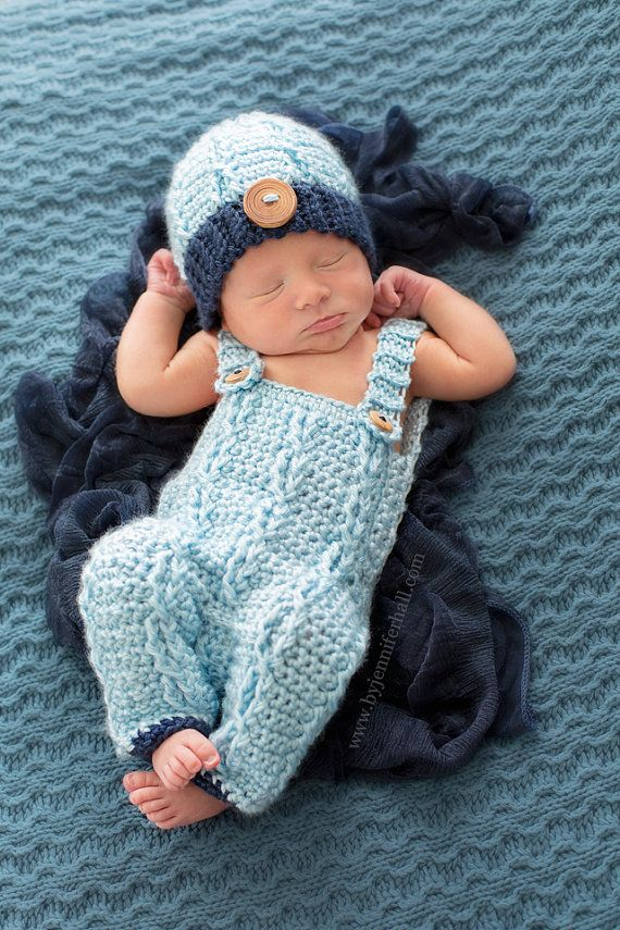 1d86b1d05 Baby outfit - Baby Overalls and beanie - Crochet baby boy outfit - Baby  Photo Prop