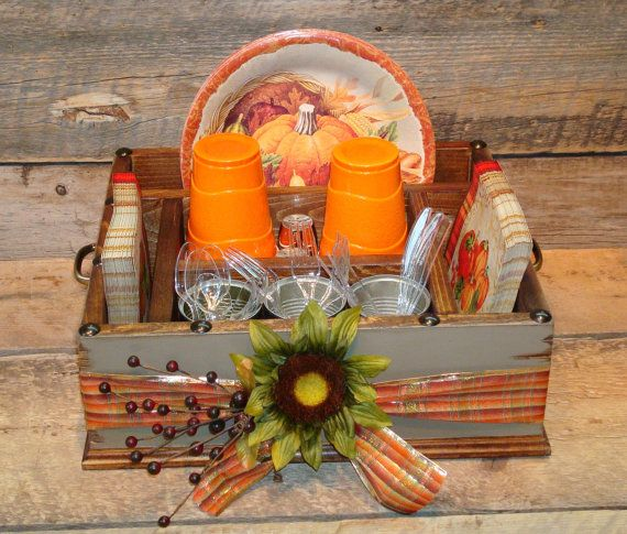 Thanksgiving Table Caddy Napkin Holder Paper plate holder Utensil Holder Picnic Box C&ing Box Serving Tray Place Setting Tray : thanksgiving table setting with paper plates - pezcame.com