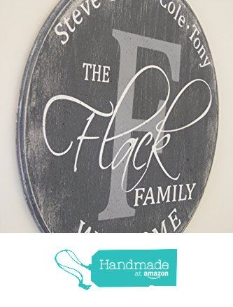 HousewarmingGift Round Wood Sign Family Name Sign Initial Sign ...