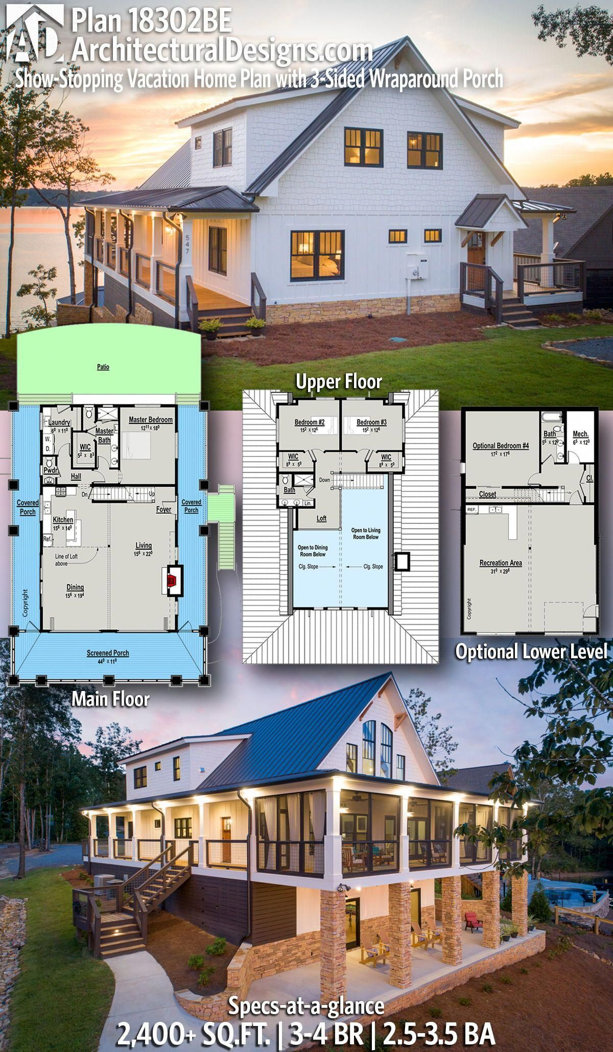 Coastal Home Plan 18302be W 3 Sided Wrap Around Porch 2 450 Square Feet Living 3 4 Bedrooms 2 5 3 5 In 2020 Barn House Plans Lake House Plans House Plans