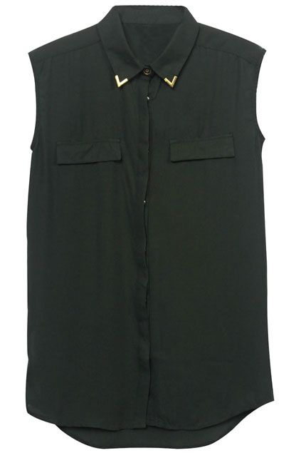 f0153f72139  Romwe Metal Embellished Black Shirt
