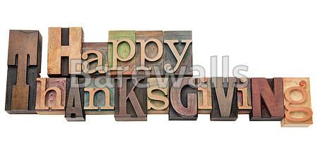"""""""Happy Thanksgiving in letterpress type"""" - Thanksgiving art prints available at Barewalls.com"""