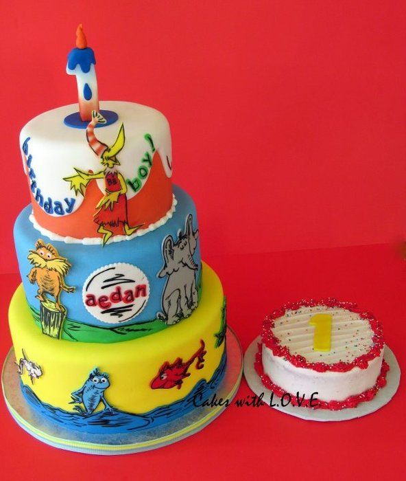 Dr Seuss Cake Idea With Images Seuss Cakes 1st Birthday