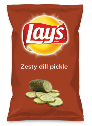 Wouldn't Zesty dill pickle be yummy as a chip? Lay's Do Us A Flavor is back, and the search is on for the yummiest chip idea. Create one using your favorite flavors from around the country and you could win $1 million! https://www.dousaflavor.com See Rules.