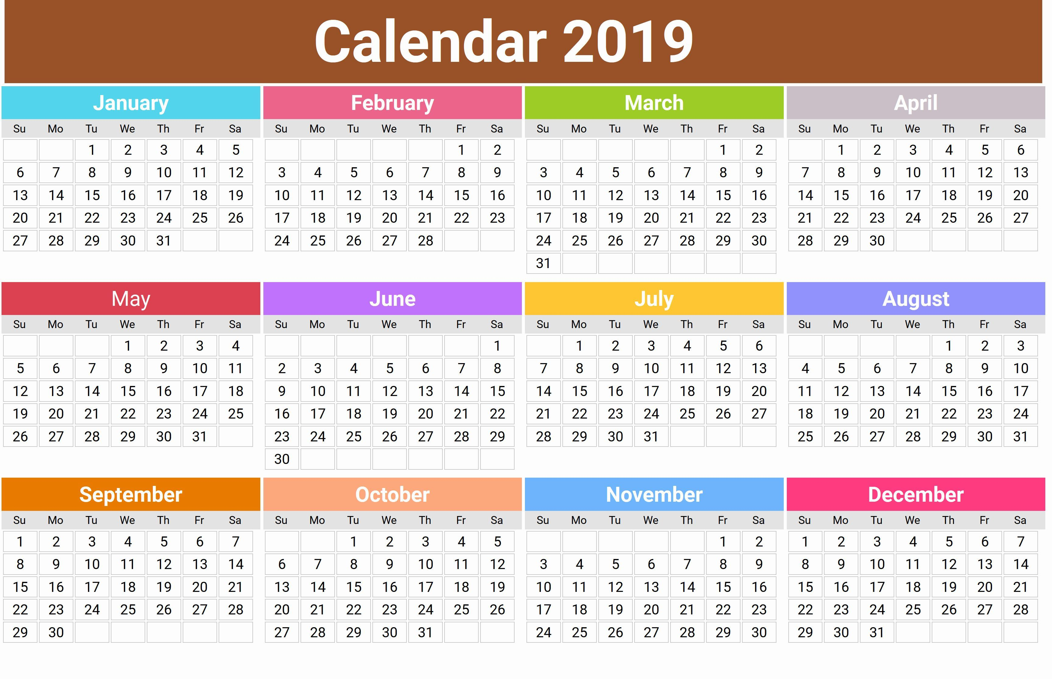Canada 2019 Printable Calendar Download Printable
