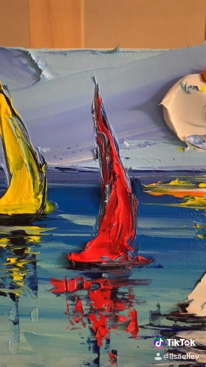 Paint with a palette knife #painting #artlessons #diy