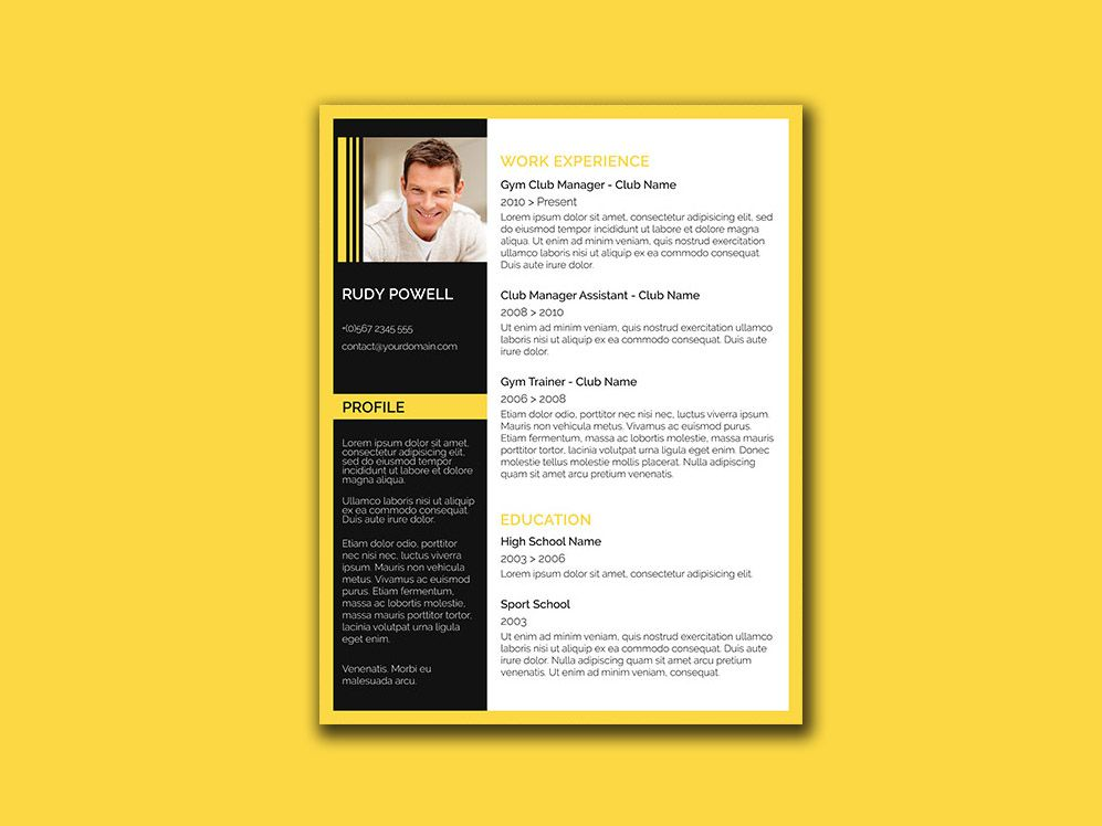Free stylish resume template with black and yellow color