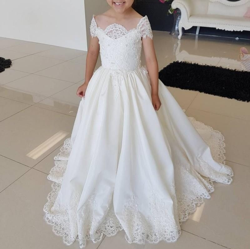 Lace Applique Cute Wedding Girl Dress Flower Girl Dress Foraml Occasion Kids Clothing Princess Dress #spitzeapplique