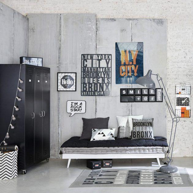 idee deco chambre garcon chambre ado decoration deco noir et blanc style new york scandinave industriel dressing metallique noir metal lampadaire indu gris