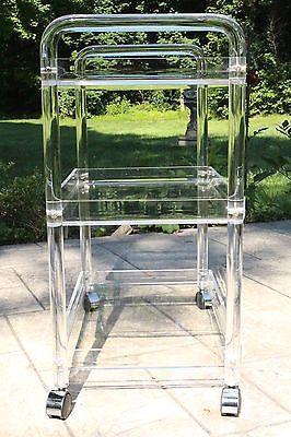 Nieuw Vintage-Lucite-Acrylic-3-Tier-Rolling-TV-Tea-Bar-Cart-on-Casters XB-01
