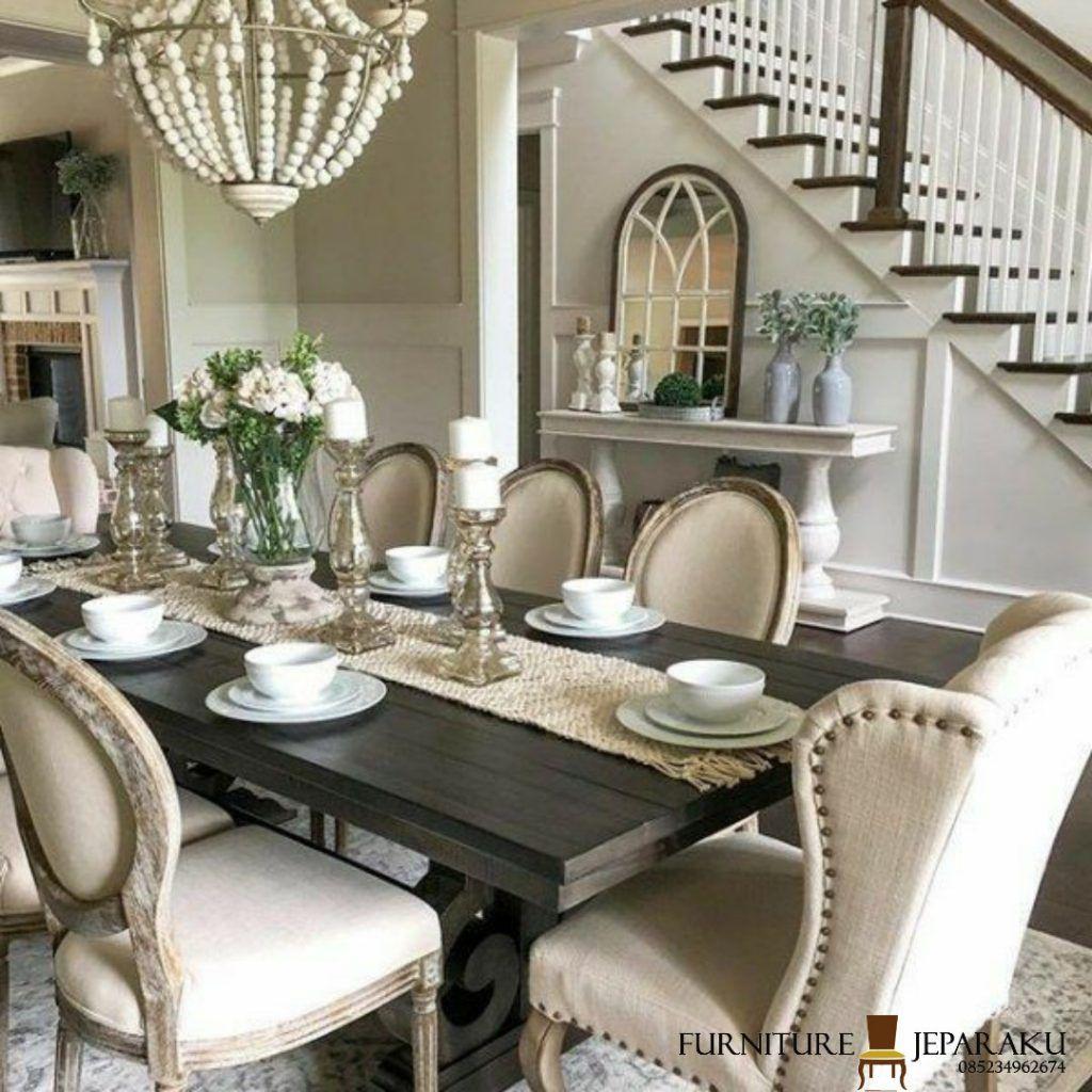 Meja Makan Keluarga Simpel In 2020 Dining Room Table Decor Farmhouse Dining Room Table Country Dining Rooms