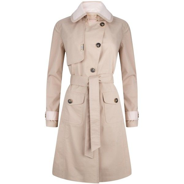 PIOGG All-Weather Fashion Coats - Waterproof Beige Trenchcoat ($508) ❤ liked on Polyvore featuring outerwear, coats, pink rain coat, light pink trench coat, flared trench coat, pink coat and asymmetrical zip coat