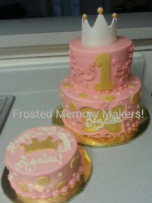 Pink And Gold Princess 1st Birthday Cake With Smash Cake Frosted